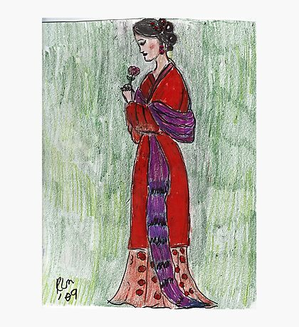 Lady Admiring A Flower -Asian Woman Series #2 Photographic Print