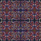 red, green, yellow, and blue abstract on purple, pattern by Dawna Morton