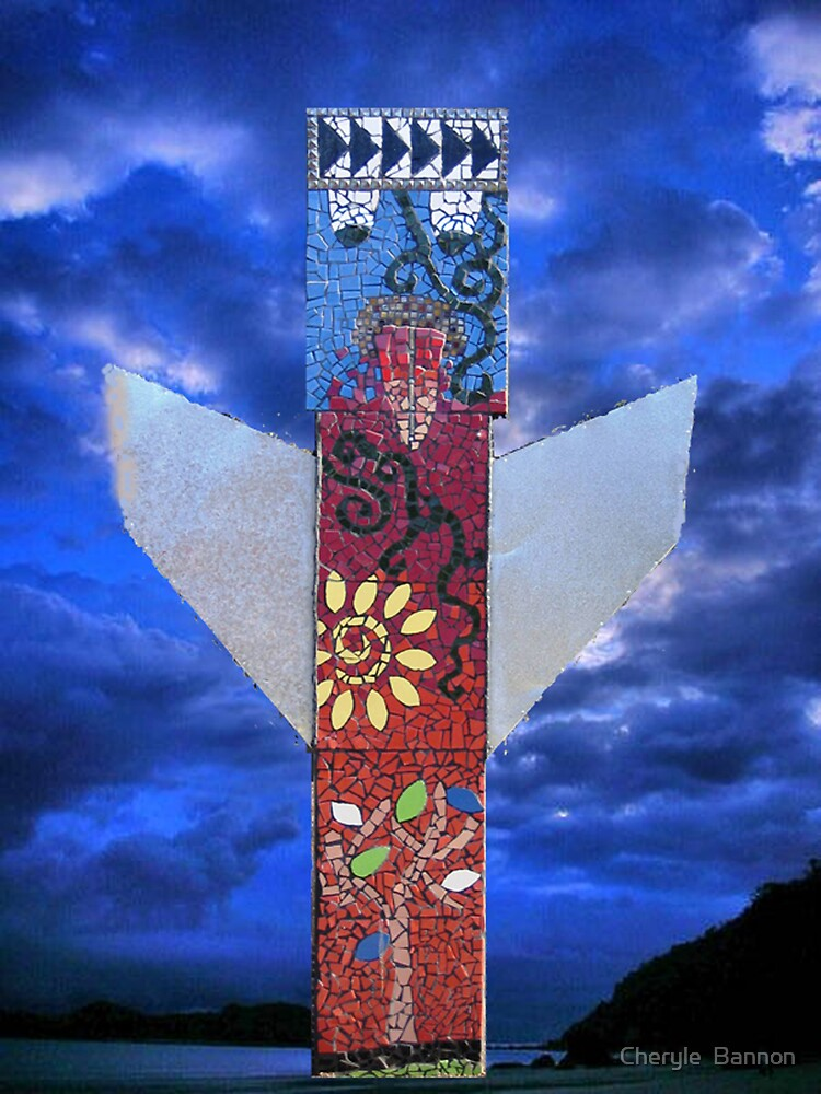 The Angel: Myuna totem pole by Cheryle  Bannon