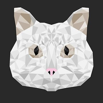 White Cat Geometric Design by TheLivingEthan