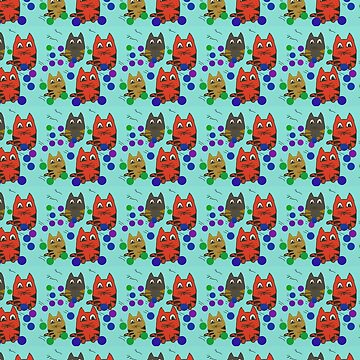 cute kitten cartoon doodle pattern by Valiante