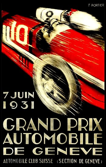 """GENEVA GRAND PRIX"" Vintage Auto Racing Print by posterbobs"