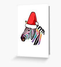 Santa Claus Hat Colorful Zebra Greeting Card