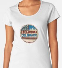 Steamboat Springs Colorado Skiing Red White Blue Mountains Women's Premium T-Shirt
