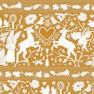 Antique lace - gold and cream - traditional Christmas pattern by Cecca Designs by Cecca-Designs