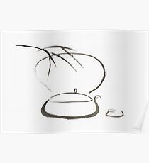 Teapot with a cup and bamboo leaves Tea ceremony concept still life Japanese Zen Sumi-e Wabi-Sabi painting art print Poster
