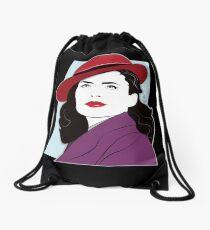 Red Hat Female Drawstring Bag