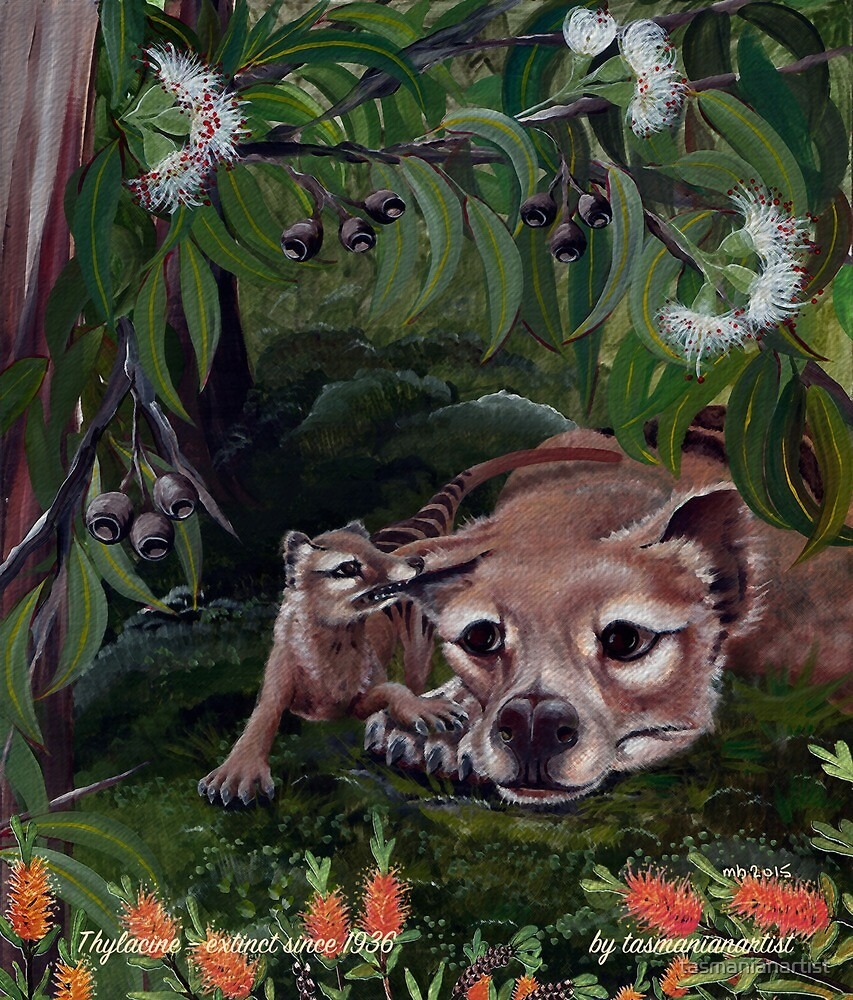 TAZZIE TALES ~ ICON ~ Thylacine and Pup by tasmanianartist by tasmanianartist