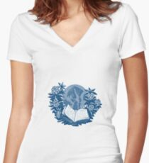 Orcas Island Map Book Rhododendron Drawing Women's Fitted V-Neck T-Shirt