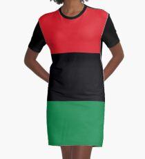 Red, Black & Green Flag Graphic T-Shirt Dress