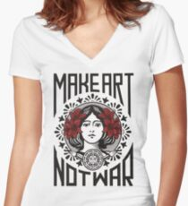 Make art not war Women's Fitted V-Neck T-Shirt