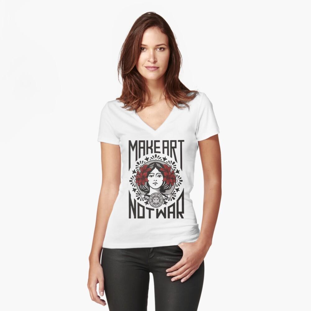 Camiseta entallada de cuello en VHaz el arte, no la guerra Delante