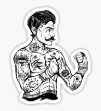Flash tattoo boxer fighter, player vintage style. Sticker