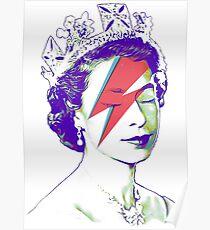 Queen Elizabeth Banksy Bowie Aladdin Sane Poster
