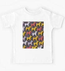 pattern Red orange lilac Dalecarlian Dala horse traditional painted wooden horse statuette originating in Swedish province Dalarna. flowers on black background. Kids Clothes