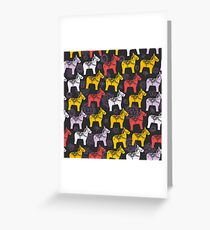 pattern Red orange lilac Dalecarlian Dala horse traditional painted wooden horse statuette originating in Swedish province Dalarna. flowers on black background. Greeting Card