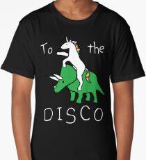To The Disco (white text) Unicorn Riding Triceratops Long T-Shirt