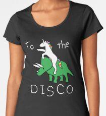 To The Disco (white text) Unicorn Riding Triceratops Women's Premium T-Shirt