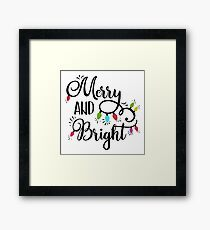 Merry and Bright Colorful Christmas Typography Framed Print