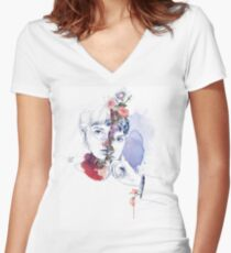 CELLULAR DIVISION by elena garnu Fitted V-Neck T-Shirt
