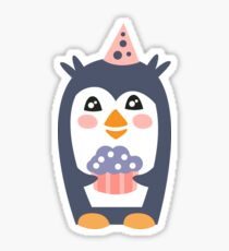 Penguin With Party Attributes Girly Stylized Funky Sticker Sticker