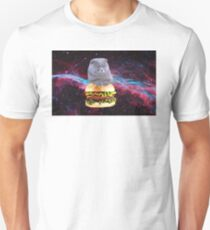 cat in space on a hamburger Unisex T-Shirt
