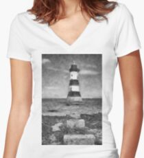 Penmon Lighthouse Women's Fitted V-Neck T-Shirt