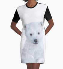 Little Polar Bear Graphic T-Shirt Dress