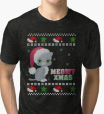 Ugly Christmas Sweater Grey Cat Shirt Knitted Style Tri-blend T-Shirt