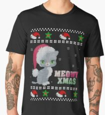 Ugly Christmas Sweater Grey Cat Shirt Knitted Style Men's Premium T-Shirt
