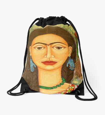 My homage to Frida Kahlo Drawstring Bag
