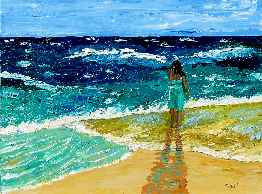 """Girl  on Beach"" original nature seascape painting by Michael Arnold"