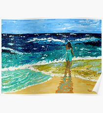 """""""Girl  on Beach"""" original nature seascape painting Poster"""