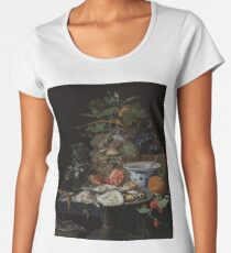 Still Life with Fruit, Oysters, and a Porcelain Bowl, Abraham Mignon, 1660 - 1679 Women's Premium T-Shirt