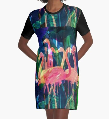 Flamingo Dance Graphic T-Shirt Dress