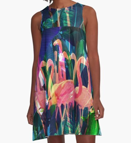Flamingo Dance A-Line Dress