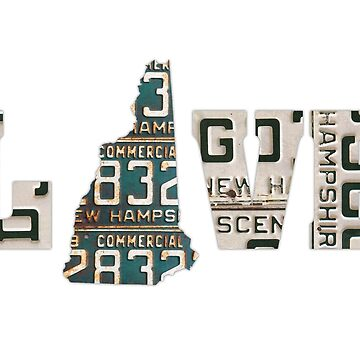 New Hampshire State Love License Plate Art by designturnpike