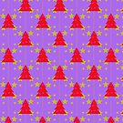 Red Christmas trees pattern with stars by Silvia Ganora