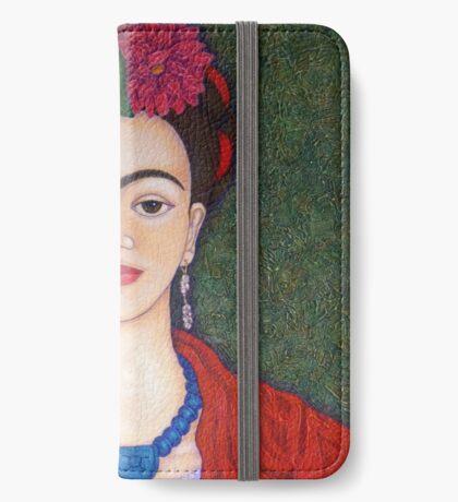 Frida Kahlo portrait with dalias  iPhone Wallet