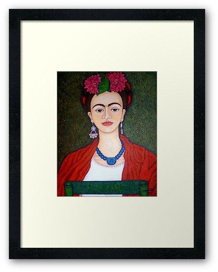 Frida Kahlo portrait with dalias  by Madalena Lobao-Tello
