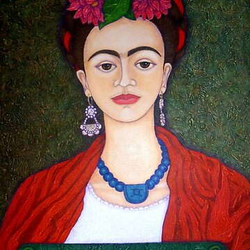 Frida portrait with dalias  by madalenalobaote