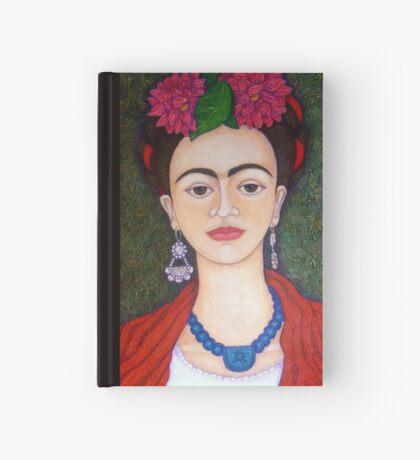 Frida Kahlo portrait with dalias  Hardcover Journal