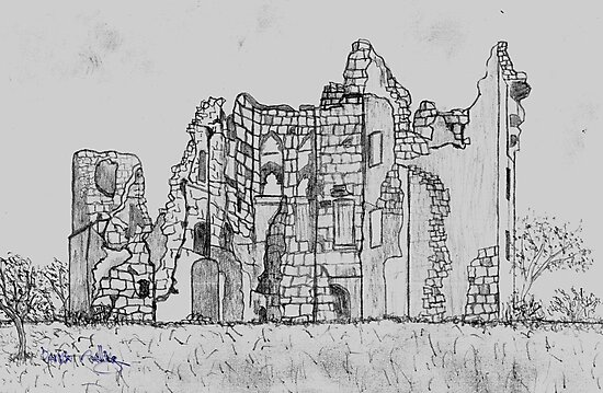 My Pencil Sketch of Old Wardour Castle, England destroyed in English Civil War 1643  by Dennis Melling