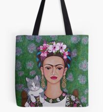 Frida cat lover - closer Tote Bag