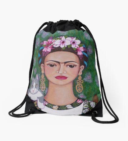 Frida cat lover - closer Drawstring Bag