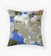 spring blossoms and blue sky - beautiful Throw Pillow