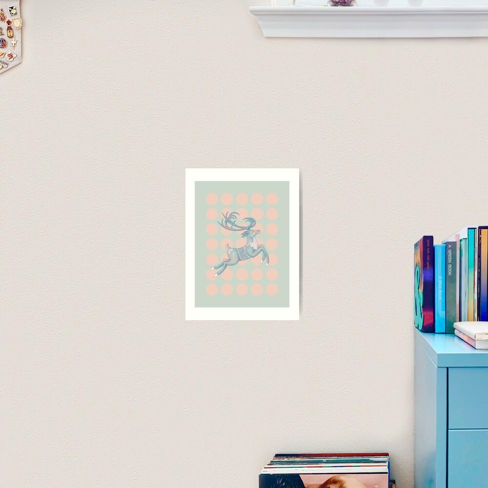 Flying Reindeer n' Dots Art Print
