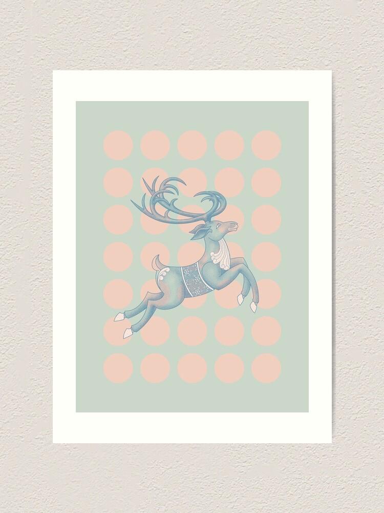 Alternate view of Flying Reindeer n' Dots Art Print