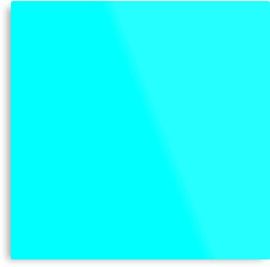 """Neon Aqua Blue Bright Electric Fluorescent Color"" Metal ..."