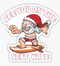 Santa Claus surfing Christmas Surf edition Sticker